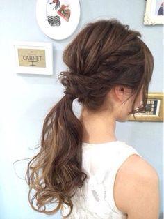 ブライダル カルネ(Bridal CARNET) ルーズねじりポニーテール Wedding Ponytail, Wedding Hair And Makeup, Bridal Hair, Hair Makeup, Long Bob Hairstyles, Retro Hairstyles, Bride Hairstyles, Updo Hairstyle, Hairdos