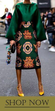 Summer Women Long Sleeve Printed Fashion Midi Plus Size Dress Hot Sale!Summer Women Long Sleeve Printed Fashion Midi Plus Size Dress - Unique Long Hairstyles Ideas African Fashion Dresses, African Dress, African Clothes, African Style, Green Fashion, Look Fashion, Fall Fashion, Fashion Coat, Cardigan Fashion