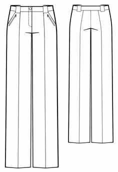 Pants With Wide Belt Loops - Sewing Pattern Inspiration, wie man macht Sewing Patterns Free, Free Sewing, Sewing Tutorials, Clothing Patterns, Shirt Patterns, Pattern Sewing, Free Pattern, Flat Drawings, Flat Sketches