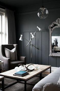 Mid Century floor lamp w/rustic furnishings and traditional bones