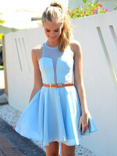 Baby Blue Dresses with Belt