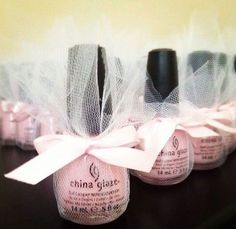 Pretty in pink - pink polish of course. Great bridal shower idea! I need a deep purpleFor bridal shower favors! by Erline Lynch
