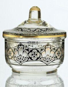 c.1920s filigree painted clear glass bowl & cover, Beckert Pietsch