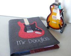 A5 cubierta del cuaderno de tela con diseño de guitarra de RubyPatch