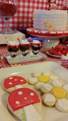 Little Red Riding Hood baby shower party desserts! See more party ideas at CatchMyParty.com!