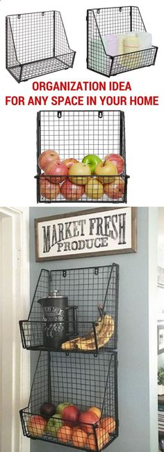 A modern industrial metal wire basket that provides a stylish and attractive way to organize your entryway, pantry, garage, bathroom or office space. Can be mounted on any wall (hardware included) or simply set on a table or shelf. Also folds flat for easy storage  transport. [affiliate]