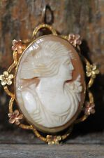 VINTAGE 1/20 12KT GOLD FILLED HAND CARVED SHELL CAMEO PENDANT PIN