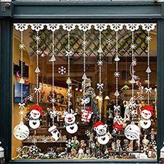 UMIPUBO Natale Vetrofanie Addobbi Natale Adesivi Rimovibile Adesivi Murali Fai da te Finestra Sticke Natale