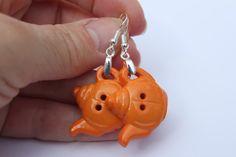 Orange teapot earrings. Madhatter tea party earrings. by EmmaAmies
