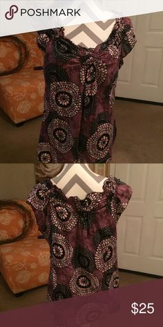 Lucky Brand top Lucky Brand    Size XL.  100% Cotton purple and black.   Very pretty Lucky Brand Tops Blouses