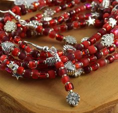 Cherry Bomb red stretchy seed bead bracelets with by OklahomaMama