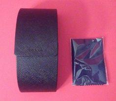 PRADA CASE SUNGLASSES CLEANING CLOTH LARGE VERTICAL CURVED HARD CASE BLACK
