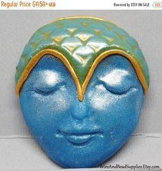 SALE  10% Off  Large Blue and Green Mermaid with Gold Accent