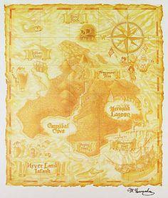 Peter Pan - Map of Neverland - Original - Manny Hernandez - World-Wide-Art.com