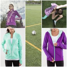 Two jackets made with sweat-wicking Luon® fabric. You pick your fave style Perfect Your Practice Jacket (left) or the reversible Flip Side Jacket (right)?