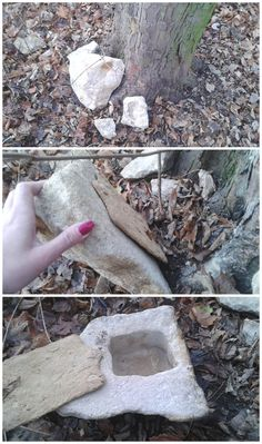 GC63QBH Slansky menhir - a very nicely done hollow rock geocache. (pics by GeoCaching CZ on Twitter stitched together by I.B. Geocaching & pinned to Creative Geocache Containers - https://www.pinterest.com/islandbuttons/creative-geocache-containers/) #IBGCp