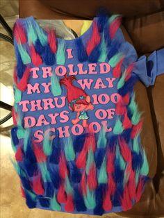 100 Days of School Trolls Shirt Source by 100 Day Of School Project, 100 Days Of School, School Fun, First Day Of School, School Projects, School Ideas, Starting School, Diy For Girls, Shirts For Girls