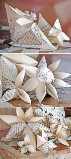 Türchen 22 – Papierblüten aus alten Buchseiten von Antje Herden