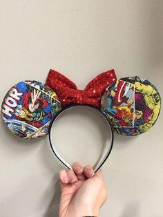 Marvel Avengers Super Hero ears headband by EarfulTowerDesigns Disney Half Marathon, Marvel Comic Books, Ear Headbands, Mickey Ears, Marvel Avengers, Hulk, Thor, Captain America, Iron Man