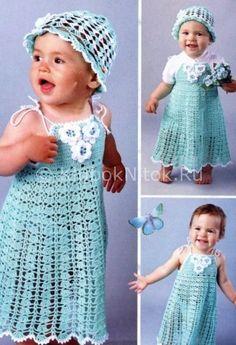 Сарафан и панамка | Вязание для девочек | Вязание спицами и крючком. Схемы вязания.