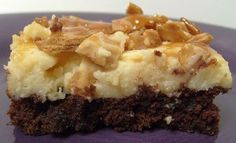 Cheesecake Brownies with Caramel Waffle Cone Topping