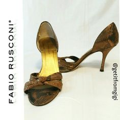 FABIO RUSCONI Heels Made in Italy. Size 8. Have been worn a few times, bit in good condition. I have pictured wear in 4th picture. Heel height is 3.5 inches. Material is a cloth snakeskin pattern with gold lame'. Very sexy!!! Fabio Rusconi Shoes Heels