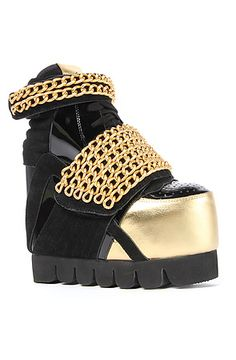 0c80d74dd The Enough Shoe in Black and Gold Chain by Jeffrey Campbell -- who  obviously hates women