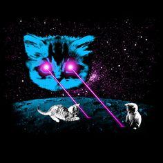 Meta Laser Cat Shirt Men's Crew Neck by UglyBaby on Etsy