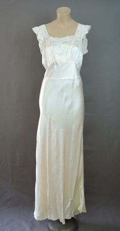 Vintage Ivory Rayon Satin Nightgown, 38 bust, As Is, 1940s - Dandelion Vintage