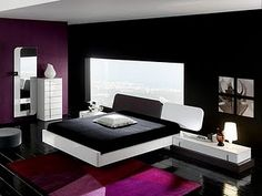 Purple Black Bedroom Decor White Design Room