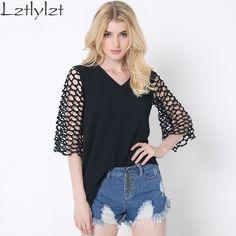 summer Casual women shirts Sexy Hollow out sleeve Chiffon tops Fashion women shirts Irregular ladies clothes Plus size
