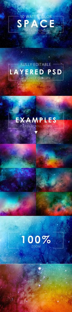 50% OFF Space Watercolor Backgrounds