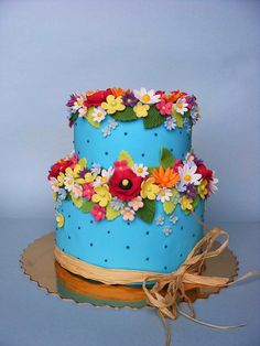 Turquoise summer flowers cake by bubolinkata, via Flickr