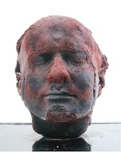 Self1991-MarcQuinn  A self portrait that has been cast and frozen, made out of 4.5 litres of Quinn's own blood, extracted over a period of about 5 months. And every 5 years, he's updated the the project with a new version.