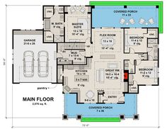 Craftsman House Plan with Two Large Porches - 14655RK floor plan - Main Level