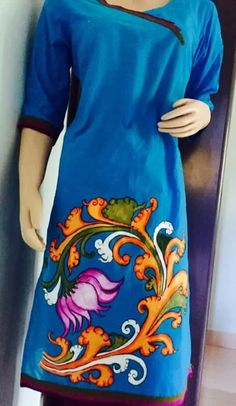For Saree pallu Saree Painting, Kerala Mural Painting, Dress Painting, Fabric Painting, Fabric Art, Fabric Paint Designs, Fabric Design, Textiles, Textile Patterns