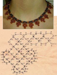 scheme of orange beaded necklace