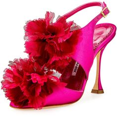 Manolo Blahnik Flore Satin Flower Sandal (€725) ❤ liked on Polyvore featuring shoes, sandals, fuchsia, cut out sandals, peep toe shoes, strap sandals, fuschia sandals and strappy sandals