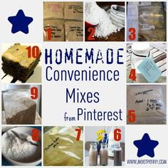Here are some of the mixes I have found ~ 1.Fake Betty Crocker Cookie Mixes from Fake It Frugal 2.Homemade Bisquick Mix Recipe at Unsophisticook 3.Hamburger Helper Pantry Kits from Tip Garden 4.White Cake Mix from I Am Baker 5.Fake Jiffy Cornbread Mix at Fake It Frugal 6.Homemade Chocolate Syrup at Glorious Treats 7.DIY Yellow Cake Mix at Chicken in the Road 8.Homemade Vanilla Pudding Mix by The Creative Princess 9.Instant Oatmeal by Frugally Sustainable 10.Homemade Chocolate Snack Cake Mix from Restless Chipotle