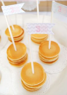 Sugar and Spice 3h Birthday Brunch Mini Pancake Stakes - chevron & trellis, Pink, Gray, and Aqua Party Flags by www.itsybelle.com