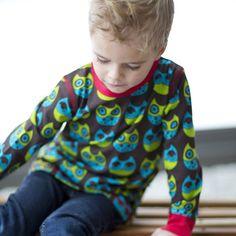 Winter Owl Organic Top - so handsome for little boys!  ittikid • Scandinavian Children's Clothes - Scandinavian Baby and Kids Clothes | Organic Eco Friendly Kids Clothes from Smafolk, Maxomorra, Duns Sweden, Sture & Lisa