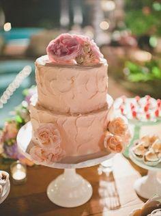 simple blush wedding cake