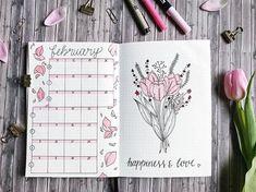 Bullet journal monthly calendar, bullet journal vertical grid calendar, flower drawing, flower petal drawing. | @thuys.bujo