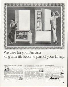"""1964 AMANA REFRIGERATOR vintage magazine advertisement """"We care"""" ~ We care for your Amana long after it's become part of your family. Model BFF-125 ~"""