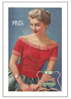 1950s Glamorous Pin Up Sweater Knitting Pattern by MyVintageWish