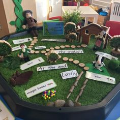 Our Jack and the Beanstalk storytelling tray encouraged us to retell the beginning, middle and end as well as learn vocabulary associated… Eyfs Activities, Nursery Activities, Nursery Themes, Activities For Kids, Nursery Room, Play Based Learning, Learning Through Play, Eyfs Areas Of Learning, Eyfs Jack And The Beanstalk
