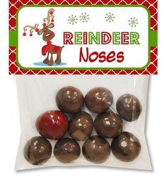 Reindeer Noses Treat Bag Headers