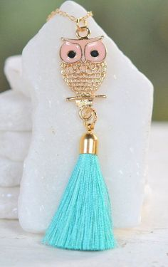 Long Owl and Tassel Necklace in Gold. Long Gold