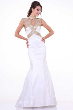 Prom Dress with High and Beaded Neck CD8760. Full Length, Trumpet Shape Evening Dress, High Neckline, Sleeveless, Unique Beaded Top and Collar, Open Back, Solid Color Skirt. Zipper Back Closure. https://www.smcfashion.com/wholesale-prom-dresses/prom-dress-cd8760