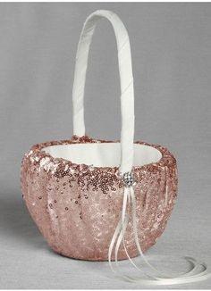 Rose Gold Sparkling Sequined Flower Girl Basket